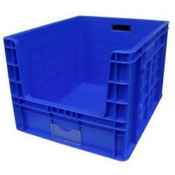 Plastová přepravka PP s vkladovým oknem, 97 l, modrá