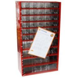 Kovový organizér, 36 zásuvek, červený