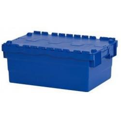 Plastový přepravní box ALC s víkem, modrý, 40 l