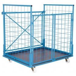 Stohovatelný pojízdný kontejner s mřížovými stěnami Quadro, do 500 kg