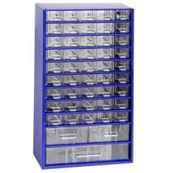 Kovový organizér, 48 zásuvek, modrý