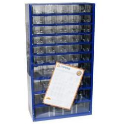 Kovový organizér, 37 zásuvek, modrý