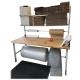 Balíci stůl s policemi s manuálně nastavitelnou výškou, deska buková spárovka