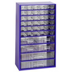 Kovový organizér, 36 zásuvek, modrý